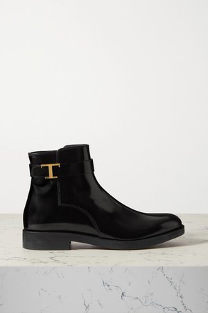 Logo-embellished Patent-leather Ankle Boots - Black