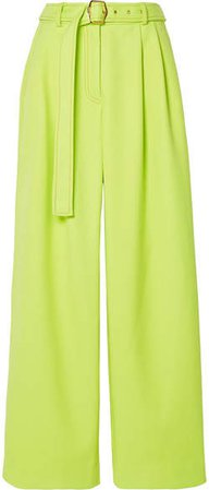 Blanche Belted Pleated Twill Wide-leg Pants - Chartreuse