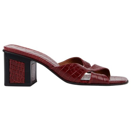 Leather mules & clogs By Far Burgundy size 39 EU in Leather - 8836753