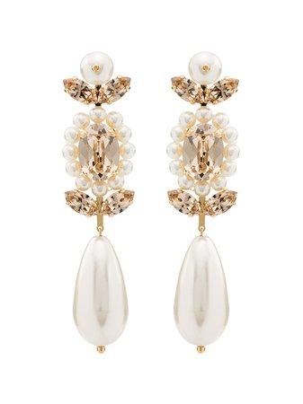 Simone Rocha Gold-Tone Pearl And Crystal Earrings Ss20   Farfetch.com