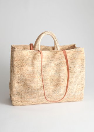 Large Woven Straw Tote - Beige - Straw bags - & Other Stories