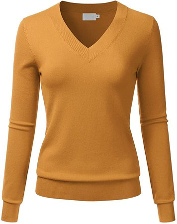 LALABEE Women's V-Neck Long Sleeve Soft Basic Pullover Knit Sweater Mustard S at Amazon Women's Clothing store
