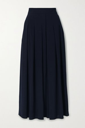 Midnight blue Pleated wool-crepe midi skirt | Akris | NET-A-PORTER
