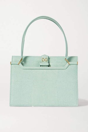 Ingrid Lizard-effect Leather Tote - Blue