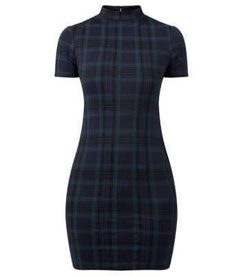 Green High Neck Tartan Check Bodycon Dress