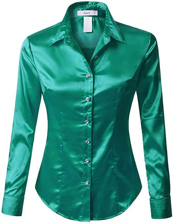 RK RUBY KARAT Womens Long Sleeve Satin Blouse with Cuffs at Amazon Women's Clothing store
