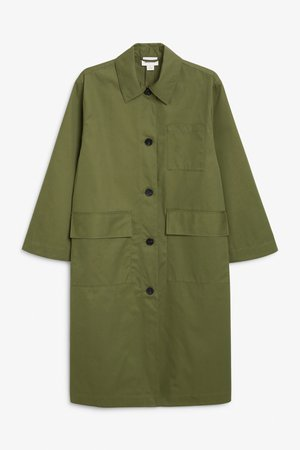 Oversized utility coat - Khaki green - Coats & Jackets - Monki NL