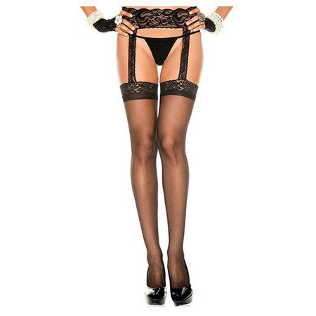 Women's PantyhoseLace Top Sheer Garter Belt-Black/Regular ($13)