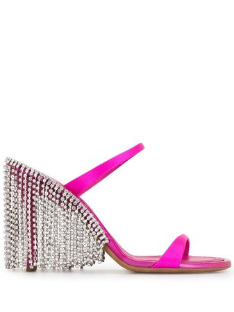 AREA fringe trim sandals - FARFETCH