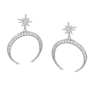 black and white diamond star drop earrings - Google Search