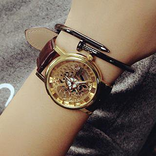 InShop Watches Couple Matching Faux-Leather Strap Watch | YesStyle
