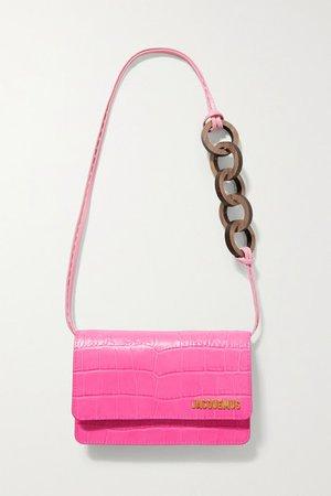 Le Riviera Croc-effect Leather Shoulder Bag - Bright pink