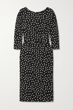 Polka-dot Stretch-cady Midi Dress - Black