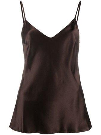 Brown Andamane V-neck satin cami top Q02T1561066 - Farfetch
