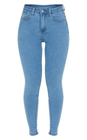 Light Blue Wash Bum Shape 5 Pocket Skinny Jeans | PrettyLittleThing USA
