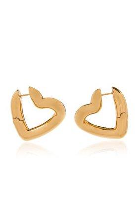 Loop Heart-Shaped Gold-Tone Hoop Earrings By Balenciaga | Moda Operandi
