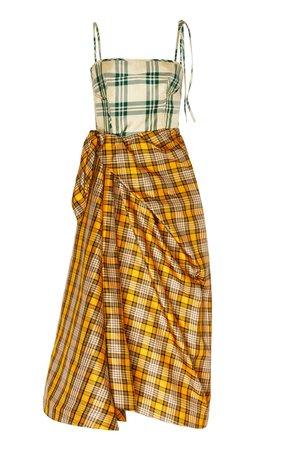 Asymmetric Checked Silk-Blend Midi Dress by Rosie Assoulin   Moda Operandi