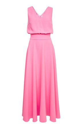 Alicia V-Neck Crepe Maxi Dress by Lilli Jahilo | Moda Operandi