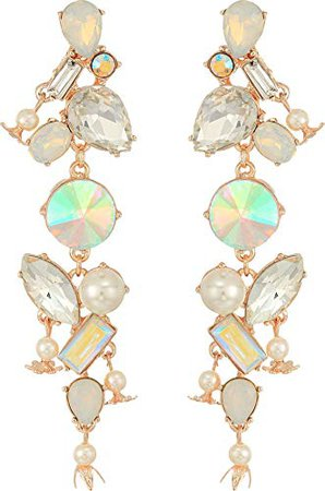 Betsey Johnson Mixed Stone Linear Earrings, White, One Size: Clothing