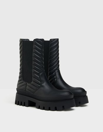 Quilted platform ankle boots with stretch detail - New - Bershka United States