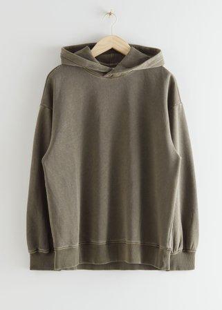 Oversized Hooded Sweatshirt - Khaki - Sweatshirts & Hoodies - & Other Stories