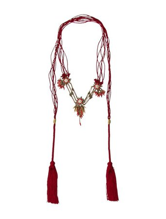 Gucci Embellished Floral Cord Tassel Necklace - Necklaces - GUC199987 | The RealReal