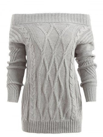 light grey cable-knit sweater cold shoulder