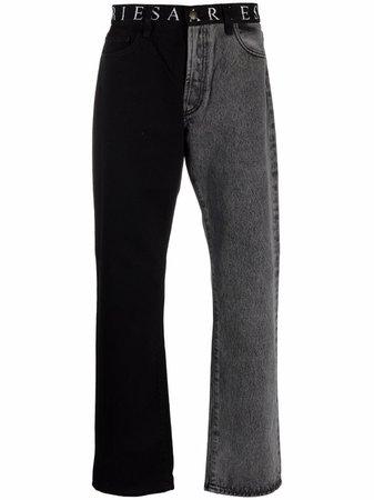 Aries two-tone Straight Leg Jeans - Farfetch
