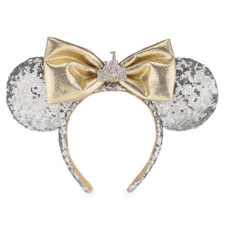 Minnie Mouse Cinderella Castle Ear Headband - Silver Sequins - Walt Disney World | shopDisney