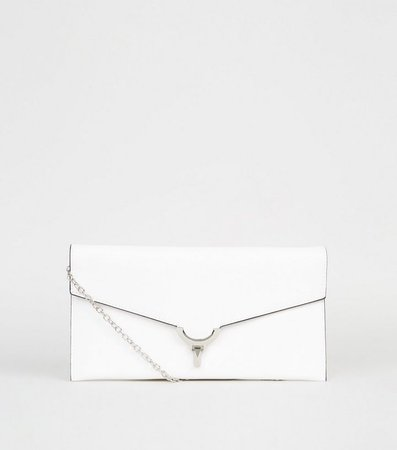 White Leather-Look Clutch Bag | New Look