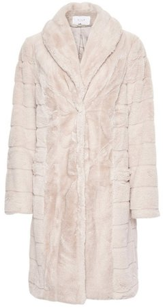 **Vila Cream Carved Faux Fur Longline Coat