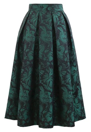 Green Peony Jacquard Pleated Midi Skirt - Retro, Indie and Unique Fashion