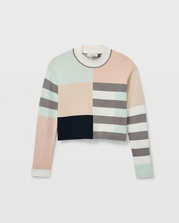 Geo Mix Mockneck Sweater