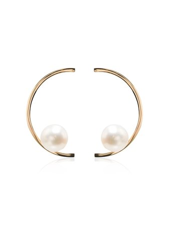Mateo 14k Yellow Gold Half Moon Pearl Earrings - Farfetch