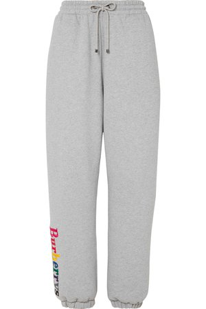 Burberry | Embroidered cotton-blend jersey track pants | NET-A-PORTER.COM