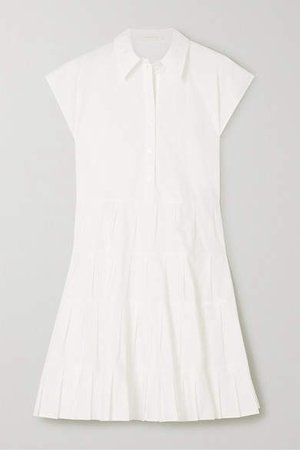 Pleated Tiered Cotton-poplin Shirt Dress - White