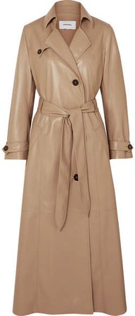 Chiara Belted Vegan Leather Trench Coat - Beige