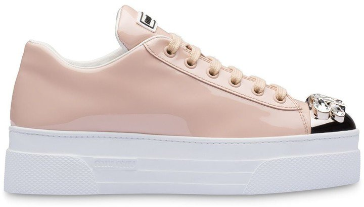 Patent-Leather Embellished Sneakers