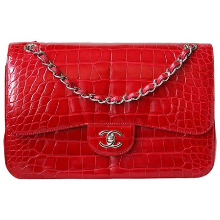 Chanel Alligator Jumbo Classic Double Flap Bag