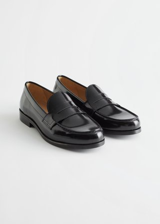 Leather Penny Loafers - Black - Loafers - & Other Stories