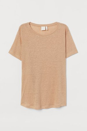Linen T-shirt - Beige - Ladies | H&M US