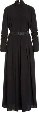 Akris Belted Wool Maxi Dress