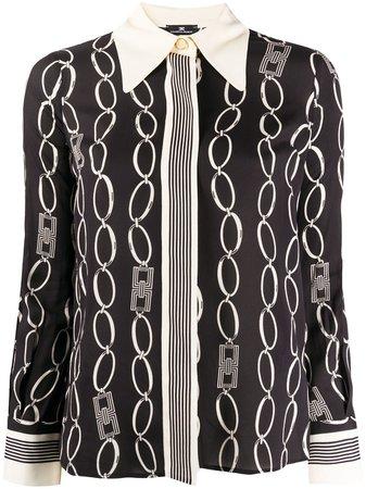 Black Elisabetta Franchi chain print blouse - Farfetch