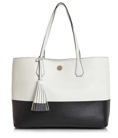 Tory Burch Colorblock Spring Summer Purse Carryall Black White Ivory Leather Tote - Tradesy