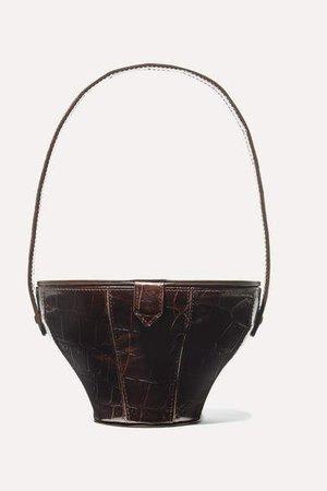 Alice Croc-effect Leather Tote - Dark brown