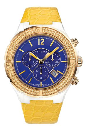 Versace 'DV One Cruise' Topaz Bezel Watch, 43mm | Nordstrom