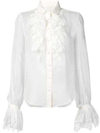 Saint Laurent Ruffle Lace Trim Shirt