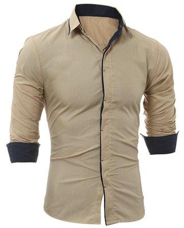 [17% OFF] 2019 Men's Fashion Casual Slim Long Sleeve Shirt 5226 In LIGHT KHAKI | DressLily