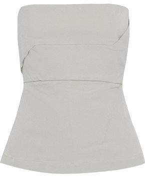 Strapless Cotton-blend Stretch-crepe Bustier Top