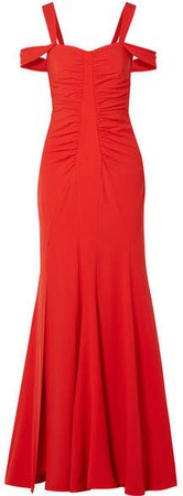 Cold-shoulder Ruched Stretch-crepe Gown - Red